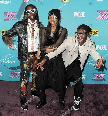 """Stock Picture of Jemelie Joseph, Lyric Da Queen and Lyric Da Queen of the group Lyric 145 arrive at the """"X-Factor"""" Finalists Party, in Los Angeles"""