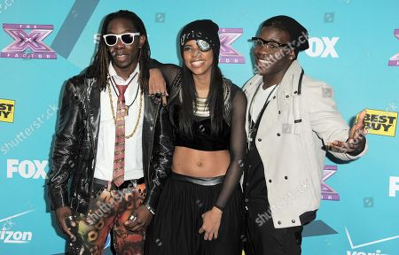 """Stock Image of Jemelie Joseph, Lyric Da Queen and Lyric Da Queen of the group Lyric 145 arrive at the """"X-Factor"""" Finalists Party, in Los Angeles"""