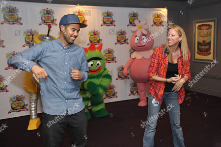 Stock Photo of Eric Koston, left, and Yo Gabba Gabba! choreographer Shannon Roy Steen rehearse backstage at Yo Gabba Gabba! Live!: Get The Sillies Out! 50+ city tour kick-off performance on Thanksgiving weekend at Nokia Theatre L.A. Live on in Los Angeles