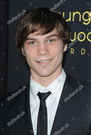 Stock Image of Nick Krause arrives at the Young Hollywood Awards at the Hollywood Athletic Club on in Los Angeles