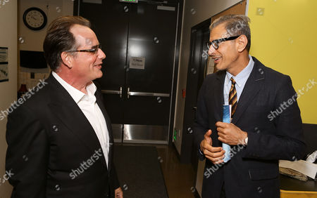 "Stock Picture of From left, cast member Tom Irwin and actor Jeff Goldblum pose backstage after the opening night performance of ""A Parallelogram"" at the Center Theatre Group/Mark Taper Forum, in Los Angeles, Calif"