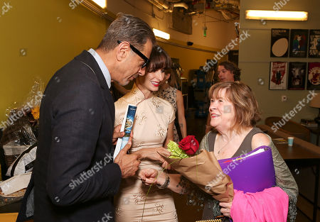 """From left, actor Jeff Goldblum, Emilie Livingston and cast member Marylouise Burke talk backstage after the opening night performance of """"A Parallelogram"""" at the Center Theatre Group/Mark Taper Forum, in Los Angeles, Calif"""