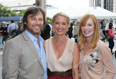 """From left, actors Grant Show, Katherine LaNasa and Marg Helgenberger pose during the arrivals for the opening night performance of """"A Parallelogram"""" at the Center Theatre Group/Mark Taper Forum, in Los Angeles, Calif"""