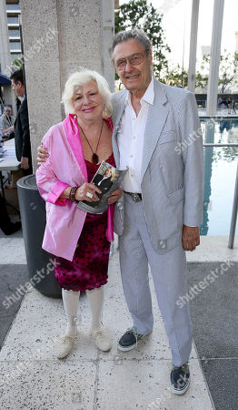 """From left, actors Renee Taylor and Joe Bologna arrive for the opening night performance of """"Buyer & Cellar"""" at the Center Theatre Group/Mark Taper Forum, in Los Angeles, Calif"""