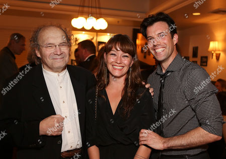 """From left, Larry Pisoni, co-founder/clown Pickle Family Circus, co-creator/director Erica Schmidt and co-creator/performer Lorenzo Pisoni pose during the party for the opening night performance of """"Humor Abuse"""" at the Center Theatre Group/Mark Taper Forum, in Los Angeles, Calif"""