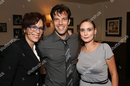 "From left, actress Jane Kaczmarek, co-creator/performer Lorenzo Pisoni and actress Rebecca Mozo pose during the party for the opening night performance of ""Humor Abuse"" at the Center Theatre Group/Mark Taper Forum, in Los Angeles, Calif"