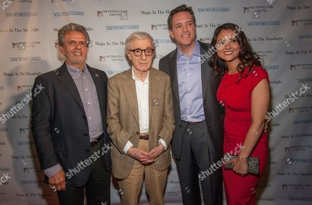 From left, Ronald L. Chez, Woody Allen, Michael P. Rose and Monica Rose seen at the Magic In The Moonlight screening, on in Chicago