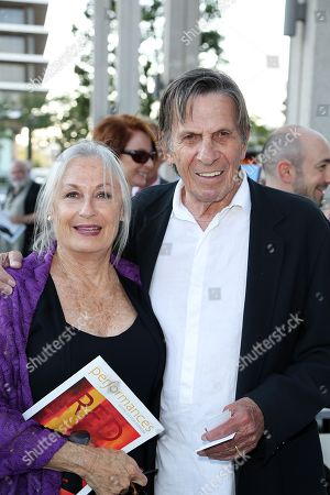 """Susan Bay, left, and actor Leonard Nimoy, right, pose during the arrivals for the opening night performance of """"Red"""" at the Center Theatre Group/Mark Taper Forum, in Los Angeles, Calif"""