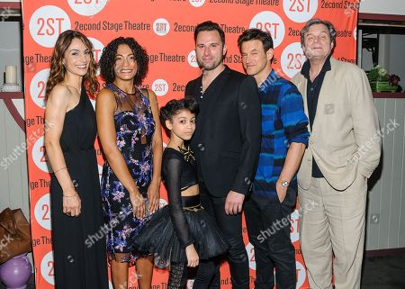 """Annie Parisse, Amelia Workman, Arica Himmel, Quincy Dunn-Baker, Adam Rothenberg, and John Procaccino attend the Off-Broadway opening night of """"The Layover"""" at the Second Stage Theatre, in New York"""