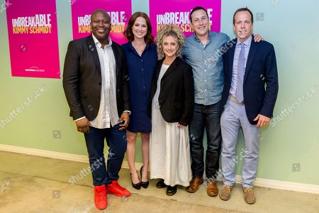 """Tituss Burgess, from left, Ellie Kemper, Carol Kane, Mike Carlsen, and Robert Carlock arrive at the """"Unbreakable Kimmy Schmidt"""" FYC event at UCB Sunset Theatre, in Los Angeles"""
