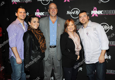 Stock Picture of Left to right) Albie Manzo, Lauren Manzo, Albert Manzo, Caroline Manzo and Christopher Manzo arrive at the 13th Annual Pinktober Breast Cancer Awareness Campaign, on at Hard Rock Cafe, New York