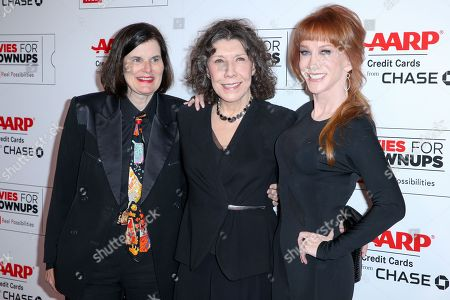 Paula Poundstone, from left, Lily Tomlin and Kathy Griffin arrive at the 15th Annual Movies for Grownups Awards at the Beverly Wilshire Hotel, in Beverly Hills, Calif
