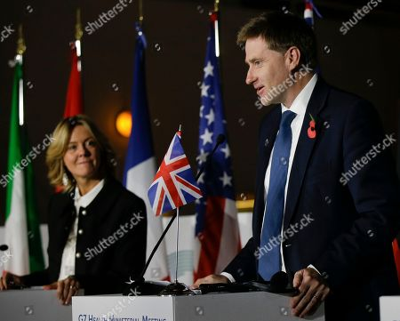 United Kingdom's Undersecretary for Public Health and Community Health Steve Brine talks during the final press conference at the G7 Health Ministerial Meeting in Milan, Italy