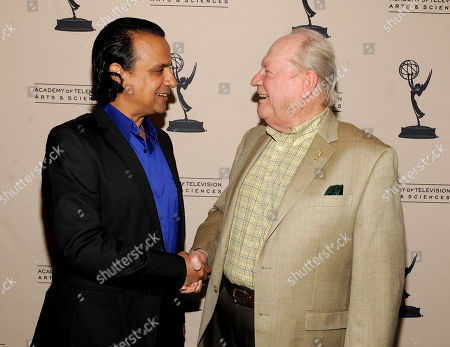 AUGUST 22: Actor Ajay Mehta (L) and Governors' Appointee Conrad Bachman arrive at the Academy of Television Arts & Sciences 'Performers Peer Group Reception' at the Sheraton Universal Hotel on in Universal City, California