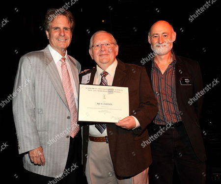 NORTH HOLLYWOOD, CA - SEPTEMBER 8: (L-R) Dan Foliart, President, the Society of Composers and Lyricists, Emmy nominee Alf Clausen, and Television Academy Governor Mark Adler pose at the 2011 Academy of Television Arts and Sciences Music Nominee Reception held at the Academy of Television Arts & Sciences in North Hollywood, California, Thursday September, 8 2011
