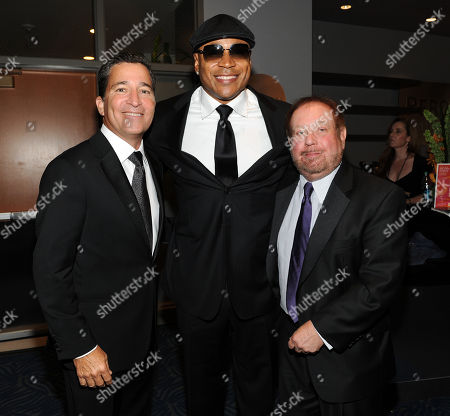 SEPTEMBER 15: (L-R) Academy Chairman & CEO Bruce Rosenblum, LL Cool J and Ken Ehrlich backstage at the Academy of Television Arts & Sciences 64th Primetime Creative Arts Emmy Awards at Nokia Theatre L.A. Live on in Los Angeles, California