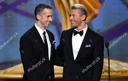 SEPTEMBER 15: Terry Miller, Dan Savage onstage at the Academy of Television Arts & Sciences 64th Primetime Creative Arts Emmy Awards at Nokia Theatre L.A. Live on in Los Angeles, California