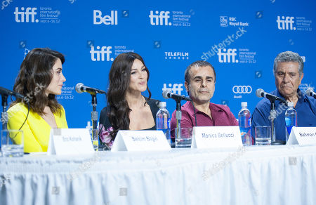 "Actresses Belçim Bilgin and Monica Bellucci, director/writer/producer Bahman Ghobadi, and actor Behrouz Vossoughi participate in a photo call and press conference for the film ""Rhino Season"" at TIFF Bell Lightbox during the Toronto International Film Festival, in Toronto"
