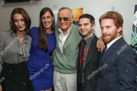 Stock Photo of From left, actors Natasha Melnick, Sarah Hagan, comic book writer Stan Lee, Samm Levine, and Seth Green poses with the Lifetime Achievement award and actor Seth Green during the 2013 Geekie Awards at the Avalon on in Los Angeles