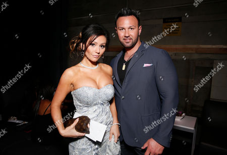 """Jenni """"Jwoww"""" Farley and Roger Matthews at the MTV Movie Awards in Sony Pictures Studio Lot in Culver City, Calif., on"""