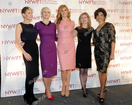 IMAGE DISTRIBUTED FOR NEW YORK WOMEN IN FILM AND TELEVISION - Robin Wright, Ellen Barkin, Connie Britton, Frances Berwick, President of Bravo and Oxygen, and Sonia Manzano, actress and writer on Sesame Street, left to right, are honored at the 2013 Muse Awards presented by New York Women in Film & Television, in New York