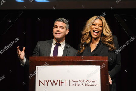 Wendy Williams and Andy Cohen host the 2013 Muse Awards presented by New York Women in Film & Television, in New York, which honored actors Connie Britton, Ellen Barkin, Robin Wright, Sonia Manzano and Frances Berwick, President of Bravo and Oxygen Media