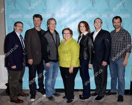 UNIVERSAL CITY, CA - MARCH 21: (L-R) Greg Yaitanes, Kevin Murphy, Graham Yost, Norma Provencio Pichardo, Janet Tamaro, James Duff, Brian Lowry attend the 2013 TV Summit Presented by Variety and the Academy of Television Arts & Sciences Foundation at the Sheraton Universal Hotel on in Universal City, California