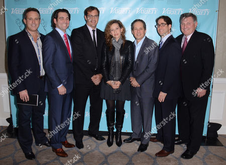 Stock Image of UNIVERSAL CITY, CA - MARCH 21: (L-R) Harris Whitbeck, Steven Wolfe Pereira, Emiliano Saccone, Diana Mogollon, Michael Schwimmer, Gil Goldschein, Danny Villanueva attend the 2013 TV Summit Presented by Variety and the Academy of Television Arts & Sciences Foundation at the Sheraton Universal Hotel on in Universal City, California