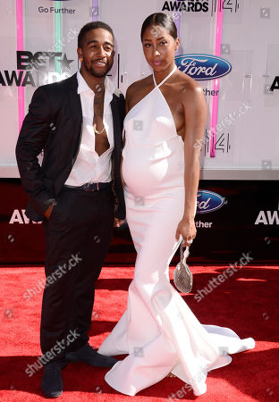 Omarion, left, and Apryl Jones arrive at the BET Awards at the Nokia Theatre, in Los Angeles