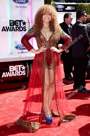 Stock Image of Nadia Buari arrives at the BET Awards at the Nokia Theatre, in Los Angeles