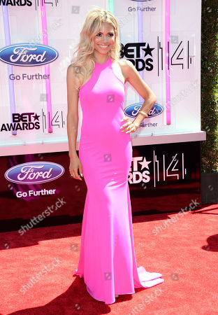 Jennifer Freeman arrives at the BET Awards at the Nokia Theatre, in Los Angeles
