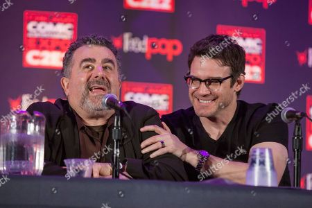 Stock Photo of Actors Saul Rubinek and Eddie McClintock during the Warehouse 13 panel at the Chicago Comic & Entertainment Expo at McCormick Place, in Chicago