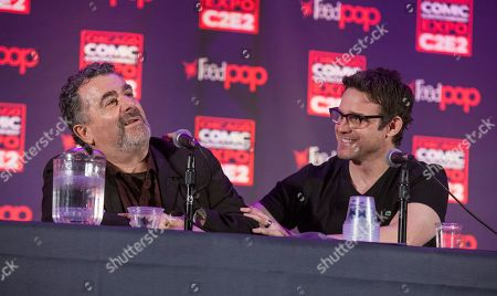 Stock Picture of Actors Saul Rubinek and Eddie McClintock during the Warehouse 13 panel at the Chicago Comic & Entertainment Expo at McCormick Place, in Chicago