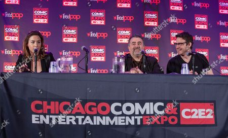 Stock Image of Actors Allison Scagliotti, Saul Rubinek and Eddie McClintock during the Warehouse 13 panel at the Chicago Comic & Entertainment Expo at McCormick Place, in Chicago