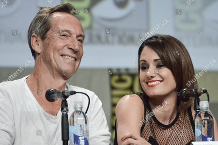 """Jonathan Hyde, left, and Natalie Brown attend """"The Strain"""" panel on day 4 of Comic-Con International, in San Diego"""