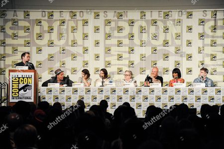 "Stock Image of From left, Tim Stack, Tim Minear, Emma Roberts, Sarah Paulson, Kathy Bates, Michael Chiklis, Angela Bassett, and Evan Peters attend the ""American Horror Story"" panel on day 3 of Comic-Con International, in San Diego"