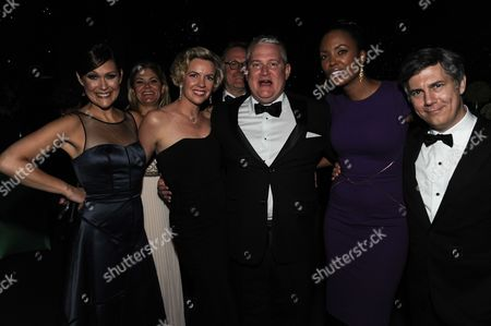 From left, Actors Amber Nash, Leigh Jackson, writer-producer Adam Reed and actors Aisha Tyler and Chris Parnell attend the Governors Ball at the 2014 Creative Arts Emmys at Nokia Theatre L.A. LIVE, in Los Angeles