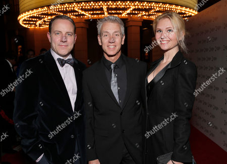Stock Image of Kirk DeMicco, Chris Sanders and Jessica Steele attend the 2014 International 3D and Advanced Imaging Society's Creative Arts Awards at the Steven J. Ross Theatre, Warner Bros. Studios on in Burbank, California