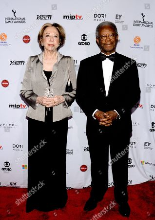 Fernanda Montenegro and Milton Goncalves attend the International Emmy Awards gala at the New York Hilton, in New York