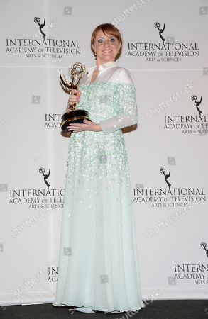"Best Performance by an Actress"" winner Bianca Krijgsman poses in the International Emmy Awards press room at the New York Hilton, in New York"