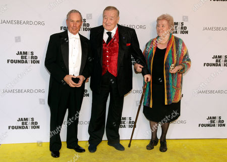 Stock Photo of From left, former Mayor of New York Michael Bloomberg, restauranteur Sirio Maccioni and wife Egidiana Maccioni attend the 2014 James Beard Foundation Awards, in New York