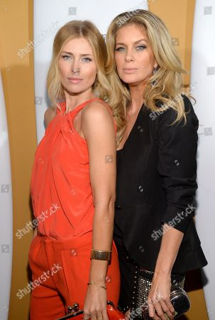 Models Daniela Pestova, left, and Rachel Hunter attend the 2014 Sports Illustrated Swimsuit 50th Anniversary Issue kickoff event at Swimsuit Beach House, in New York