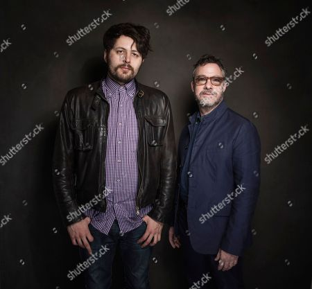 Stock Picture of Maxim Pozdorovkin and Tony Gerber pose for a portrait at Quaker Good Energy Lodge with GenArt and the Collective, during the Sundance Film Festival, on in Park City, Utah