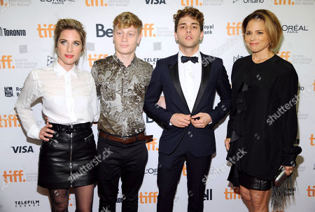 """Nancy Grant, from left, Antoine-Olivier Pilon, Xavier Dolan and Suzanne Clement attend the premiere of """"Mommy"""" on day 6 of the Toronto International Film Festival at the Princess of Wales Theatre, in Toronto"""