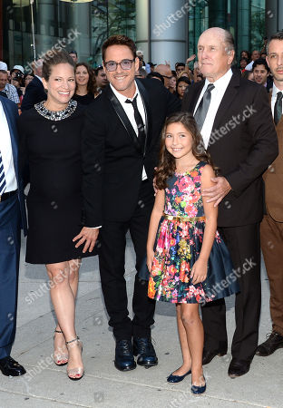 """Stock Photo of Producer Susan Downey, Actor Robert Downey Jr., actress Emma Tremblay and actor Robert Duvall attend the opening night gala premiere of """"The Judge"""" during the 2014 Toronto International Film Festival, in Toronto"""