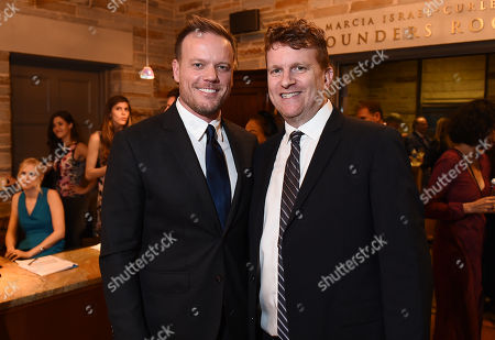 Jason Moore, left, and Gil Cates Jr. attend Backstage at the Geffen, in Los Angeles