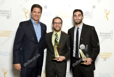 "Steve Levitan, and from left, Samuel Sandweiss and Brandon Somerhalder of USC pose for a portrait with the second place award for comedy for ""Takanakuy"" at the 36th College Television Awards, presented by the Television Academy Foundation at the Skirball Cultural Center in Los Angeles on"