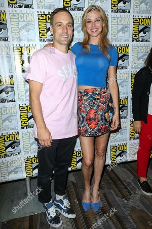 Nick Blood, left, and Adrianne Palicki attend the Marvel press line on day 2 of Comic-Con International, in San Diego