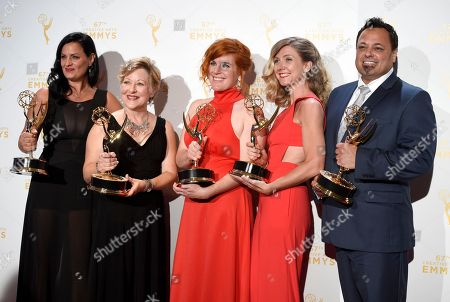 "Stock Picture of Jodi Mancuso, from left, Inga Thrasher, Jennifer Serio Stauffer, Cara Hannah Sullivan, and Joe Whitmeyer, winners of the award for hairstyling - multi cam for Saturday Night Live"" pose in the press room at the Creative Arts Emmy Awards at the Microsoft Theater, in Los Angeles"