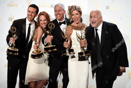 """Adam Lewinson, from left, Maureen Timpa, Brian Katkin, Tava Smiley, and Chuck Saftler, winners of the award for outstanding short-format nonfiction program for """"A Tribute to Mel Brooks"""" pose in the press room at the Creative Arts Emmy Awards at the Microsoft Theater, in Los Angeles"""